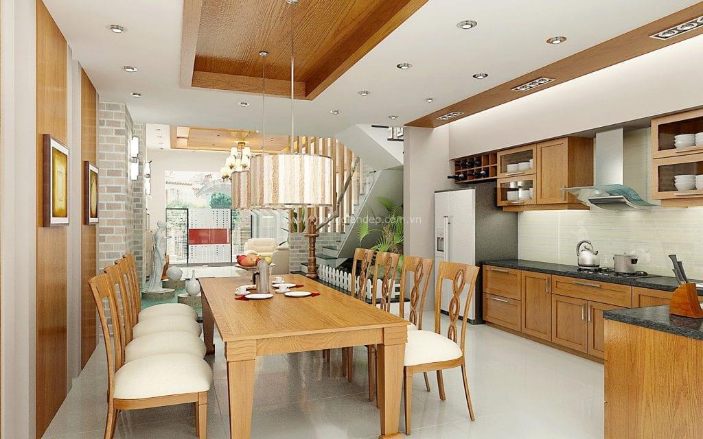 showroom bàn ăn bằng gỗ hiện đại sang trọng