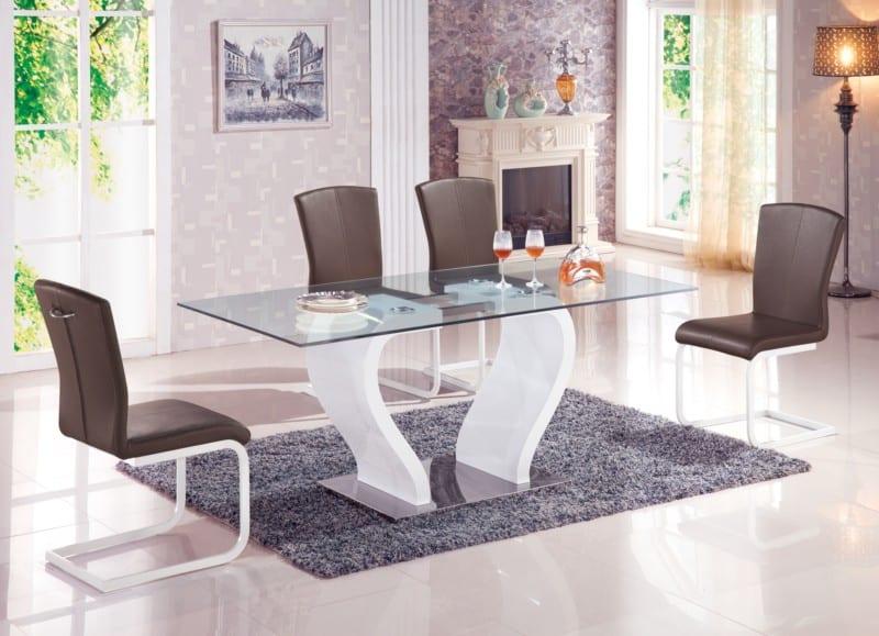bàn ăn bằng kính hiện đại