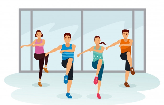 Luyện tập aerobics giảm cân cùng nhạc